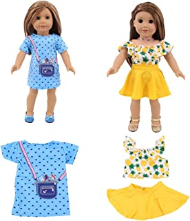 yeesport 18 Inch Doll Clothes Set Fashion Doll Dresses Set Girl Doll Casual Wear Doll Skirt Doll Dressing Set Doll Summer ...