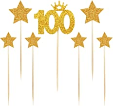 PALASASA Gold glitter 100 Days Cake Topper and pentacle for Parties Baby Happy Birthday,set of 7