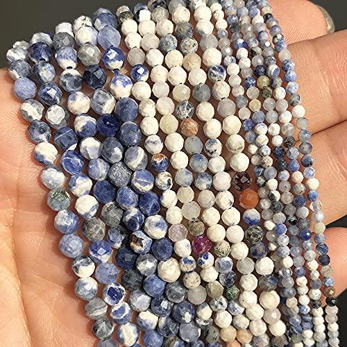 Cara de Tourmalina Natural Redondo Cuentas de piedra sueltas Espaciador de cuentas para la fabricación de joyas Pulsera de accesorios de bricolaje-Nuevo azul sodalita_4mm (aproximadamente 91PCS)