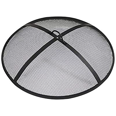 Sunnydaze Outdoor Fire Pit Spark Screen Cover Guard Accessory - Round Heavy-Duty Steel Backyard Mesh Lid Ember Arrester with Handle - 22-Inch Diameter