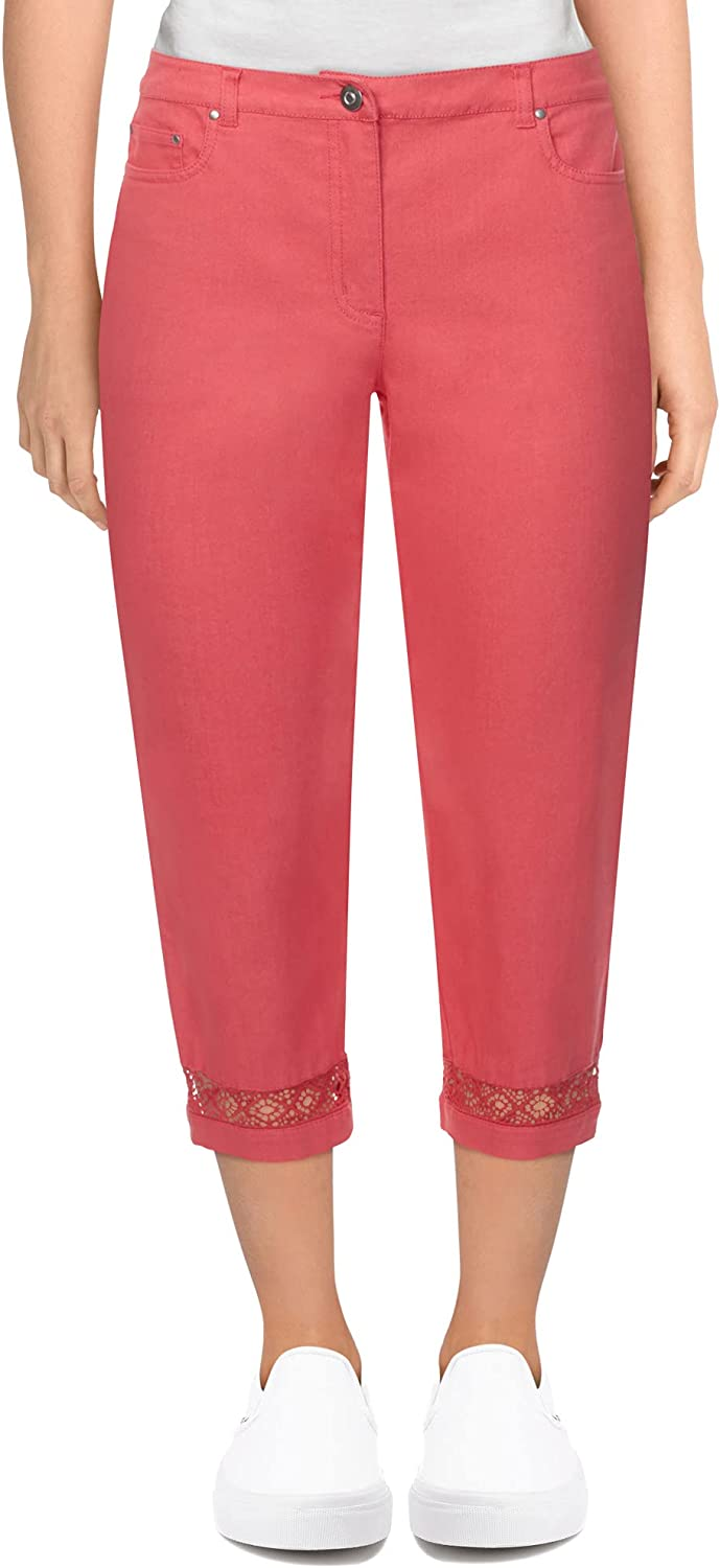 Ruby Rd. Women's Mid-Rise Fly-Front Soft Stretch Denim Capri with Lace Hem