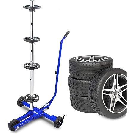 Bituxx Stabiler Fahrbarer Felgenbaum Reifenwagen Felgenständer Reifenständer Radwagen Bis 355mm Blau Auto