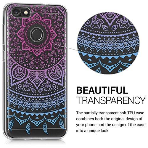 kwmobile Huawei Y6 Pro (2017) / Enjoy 7 Hülle - Handyhülle für Huawei Y6 Pro (2017) / Enjoy 7 - Handy Case in Indische Sonne Design Blau Pink Transparent - 3