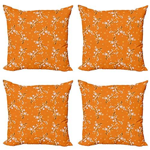 ABAKUHAUS Floral Set de 4 Fundas para Cojín, Flores del Cerezo, Estampado Digital en Ambos Lados y Cremallera, 40 cm x 40 cm, Naranja Blanco Marrón