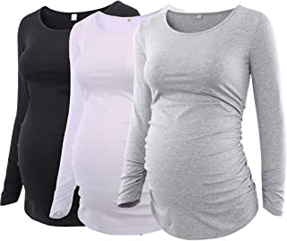 Pack 3pcs Women's Maternity Tunic Tops Flattering Side...
