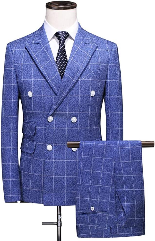 NJBYX (Suit + Vest + Pants) New Men's Checked Double Breasted Suit 3 Pieces/Men's Stylish Business Casual Suit/mens Tuxedo (Color : Blue, Size : 3XL 74-80kg)
