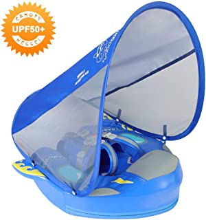 HECCEI Baby Swim Float with Canopy Solid Pool Infant Swim Trainer Swimming Training Lying Air Free Water Floats Non-Inflatable Waist Swim Ring for Toddlers (Space-Blue Spaceship)