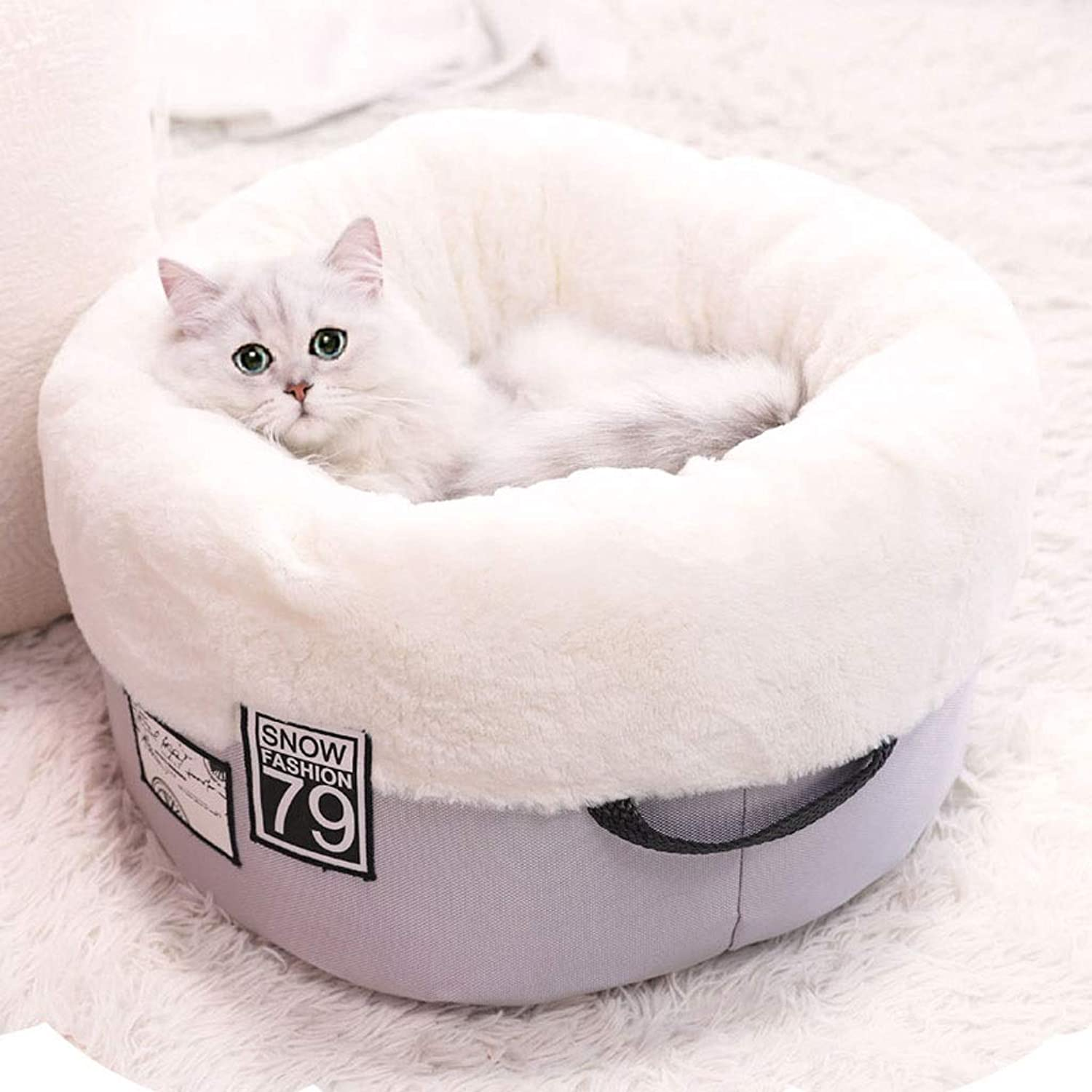Pet bed Pet Sleeping Cabin Universal for Four Seasons Can Be Separately Removed and Washed Easy to Move NonSlip Design Pet Supplies (color   White, Size   B55  55  27CM)