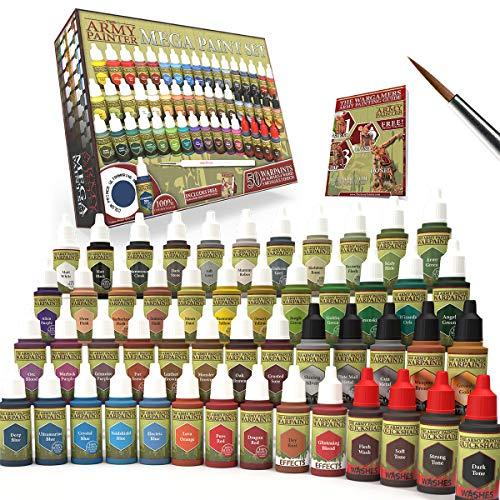 The Army Painter Miniature Painting Kit with Wargamer Regiment Miniatures Paint Brush - Miniature Paint Set for Miniature Figures, 50 Nontoxic Model Paints - Mega Paint Set of 3