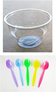 48 Ct Clear Ice Cream Cup (8 Ounce) with Spoons by Momoka's Apron