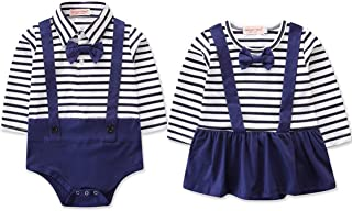 Brother and Sisiter Matching Outfits Baby Boy and Girl Long Sleeve Striped Bowtie Bodysuit Birthday Shirt