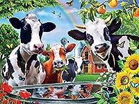 大人用番号ペイントDIYペイント番号キット 子供 大人 初心者 DIY キャンバスペインティング 数字ペインティング アクリル絵画 ホームデコレーション16x20インチ - 農場の牛(2),40×50cm(フレームなし)