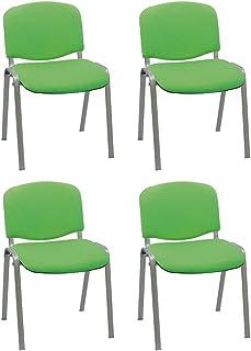 Centrosilla Silla confidente ISO apilable con Acolchado más Grueso Ideal para Salas reuniones, conferencias tapizada Patas Acero Gris (Pack 4 Unidades) (Verde)