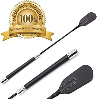 Riding Crop for Horse, 18 Inch Deluxe Whips, Fiberglass Shaft with Genuine Leather Top, Tough Equestrianism Horse Crop Black