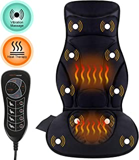 Comfitech Car Seat Back Massager Cushion Chair Pad with Heat, 10 Vibrating Motors for Office, Auto and Home (Black)