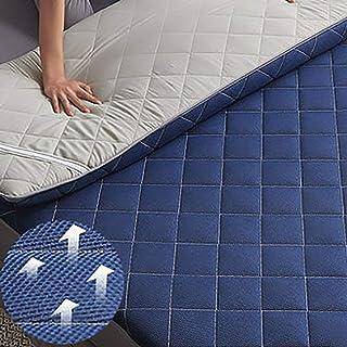 Tapete de Malla para colchón de Tatami portátil Almohadilla de colchón de futón Acolchado Suave tapete de Tatami tapete de Dormir Plegable para Dormitorio hogar Azul 150x200cm (59x79 PU