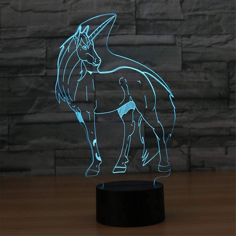 YB Nachtlicht Kreative Einhorn 3D Tischlampe Bunte Gradienten Led Nachtlicht Atmosphre Dekoration Lampe Schlafzimmer Kinderzimmer Lampe