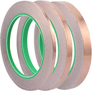 Eyech 3pc Copper Foil Tape Double-Sided Conductive Adhesive for EMI Shielding, Stained Glass, Art Work, Soldering, Electrical Repairs, Grounding- 27.5 Yard/Each