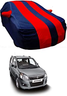 BRYGHT™ Water Resistant Car Body Cover Special Design for Maruti Suzuki Wagon R 1.0 | Front and Back Elastic | Belt and Buckle|Triple Stitched |Red Blue with Mirror Pockets