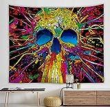 Tapiz de calavera colgante de pared boho tapiz de pared floral decoración mandala colorido tapiz psicodélico tapiz tapiz A1 100x150cm