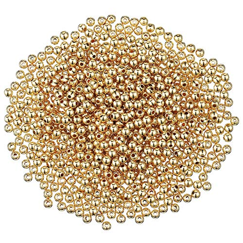 3000 Pieces 4 mm Smooth Round Beads Small Spacer Beads Round Ball Beads Seamless Smooth Loose Beads for Bracelet Necklace Jewelry DIY Crafts Making (Gold)