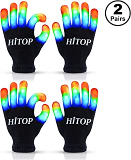 HITOP Led Gloves Light Up Kids Toys Boys Girls for Age 5 6 7 8 9 10 with Extra Batteries( 2 Pair)
