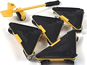 Meubellifter 5 stuks draagbare driehoek ijzer Mover meubilair Lifter beweegt wielen Mover Sliders Kit 700 lbs Tool Geel