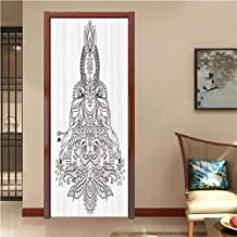LOUTANsticker Asian Lotus Sun Henna Pattern Printing Children Door Wall Mural Wallpaper Stickers, Vinyl Removable 3D Decals, 30.3