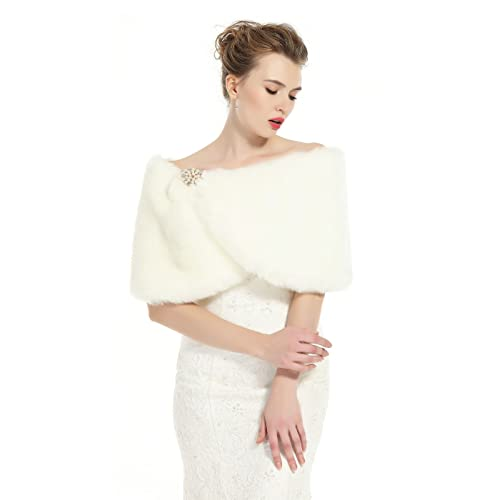 a1ad2dfb25d BEAUTELICATE Faux Fur Wrap Shawl Women s Shrug Bridal Stole for Winter  Wedding Party Free Brooch (