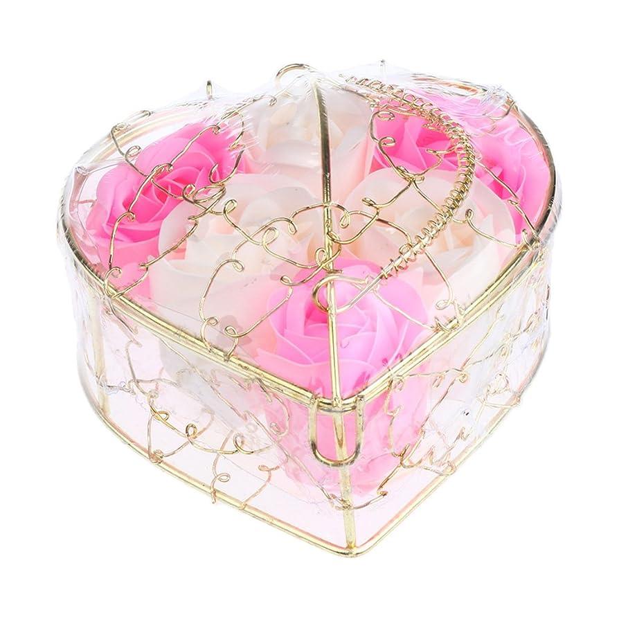 鮮やかな趣味逮捕Baoblaze 6個 石鹸の花 母の日 プレゼント 石鹸 お花 枯れないお花 心の形 ギフトボックス プレゼント 全5仕様選べる - ピンクとホワイト