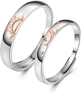 LYY Impilabile Sun And Moon Combination Un Paio di Anelli in Rilievo in Argento Sterling 3D Confortevoli e Non Facili da o...