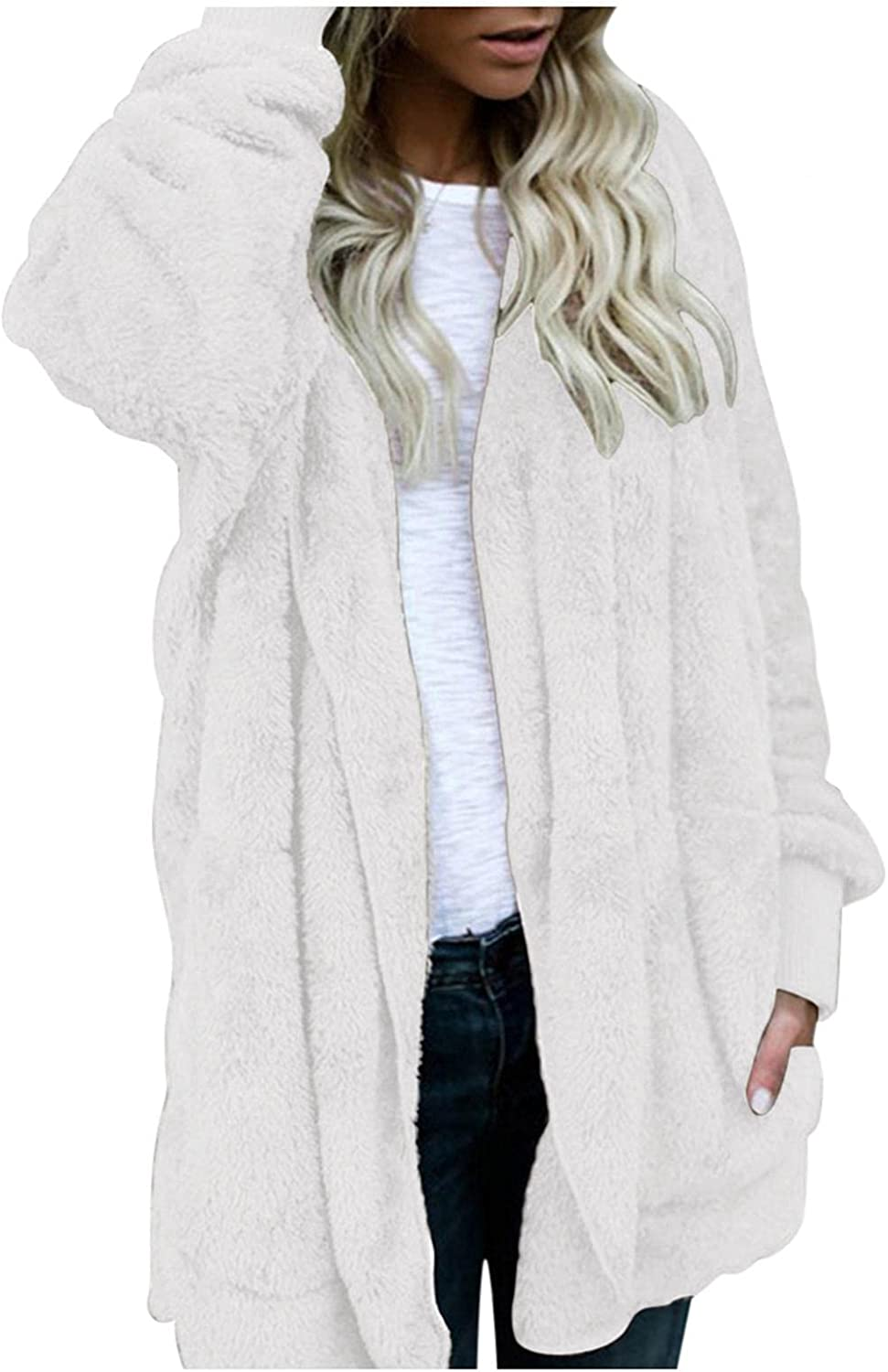 Women's Solid Color Cardigan with Pockets Warm Plush Faux Fuzzy Winter Coat,Mid-Length Double Sided Jacket Plus Size
