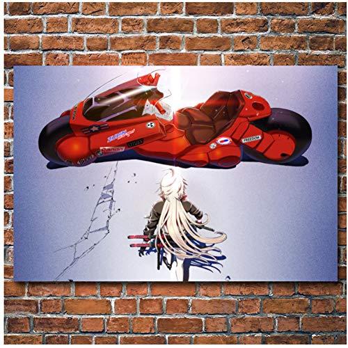 sjkkad Anime Avenger Schicksal Großauftrag Mädchen Akira Motorrad Bild Gedruckt Leinwand Tuch Wandkunst Poster Malerei Für Raumdekor-60x90 cm Kein Rahmen