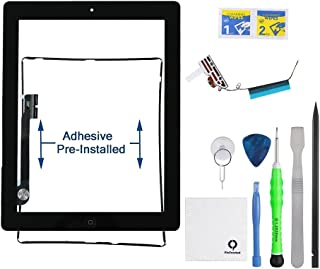 Fixcracked Touch Screen Replacement Parts Digitizer Glass Assembly for Ipad 4 + WiFi Antenna Cable and Professional Tool Kit (Black)