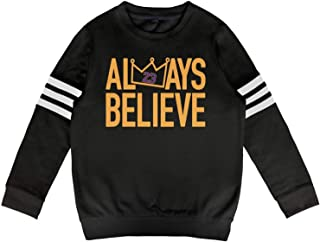Kids Crewneck Cotton Long Sleeve Always Believe La-Bron Hoody Sweatshirt for Boys and Girls