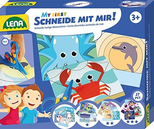 Lena 42632 - My First knutselset snijden met zeedieren, complete set met kindveilige schaar, 21 dieren om uit te knippen en 5 schildermotieven, set voor kinderen vanaf 3 jaar, 3 moeilijkheidsniveaus