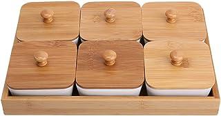 Assiette de service en céramique avec plateau en bambou pour fruits et noix Desserts((6 compartiments))