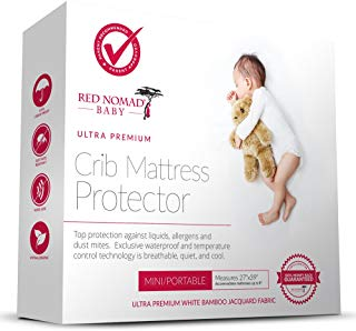 Red Nomad Crib Pad Mattress Protector – Ultra Soft Bamboo Fabric Waterproof Hypoallergenic Cover – Fits All Mini Portable Crib Sizes Including Pack N Play