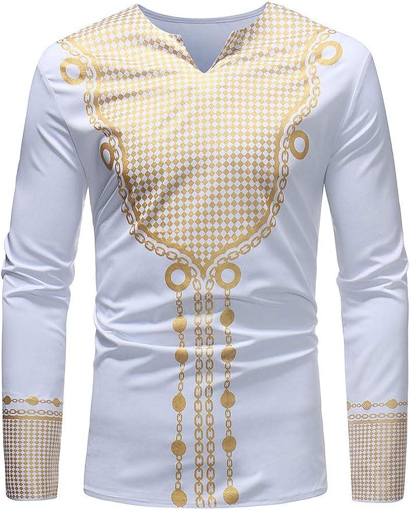 MODOQO Men's African Dashiki Luxury V-Neck Gold Print Mid Long Shirt