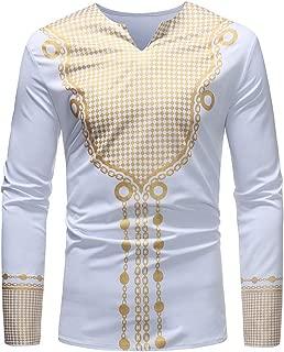 iZHH Mens Luxury African Print Autumn Winter Long Sleeve Dashiki Shirt Blouse