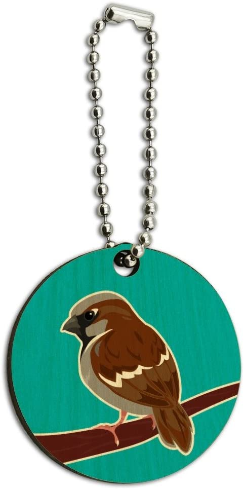 Sparrow Little Brown Bird on Stick Wood Wooden Round Keychain Key Chain Ring