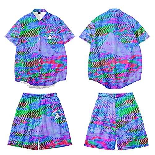 CHUIKUAJ Cárdigan Kimono Japonés para Hombre Camisa de Manga Corta con Estampado de Letras Conjunto de Pantalones de Playa Camisetas Sueltas de Talla Grande Chaqueta,C-Xxlarge