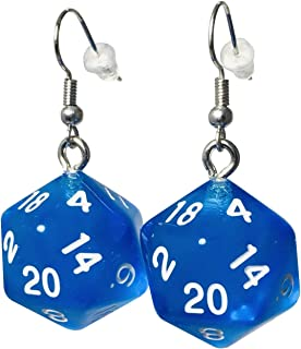 d20 20-Sided Polyhedral Dice Earrings - 6 Colors Available - Hook with Earnuts
