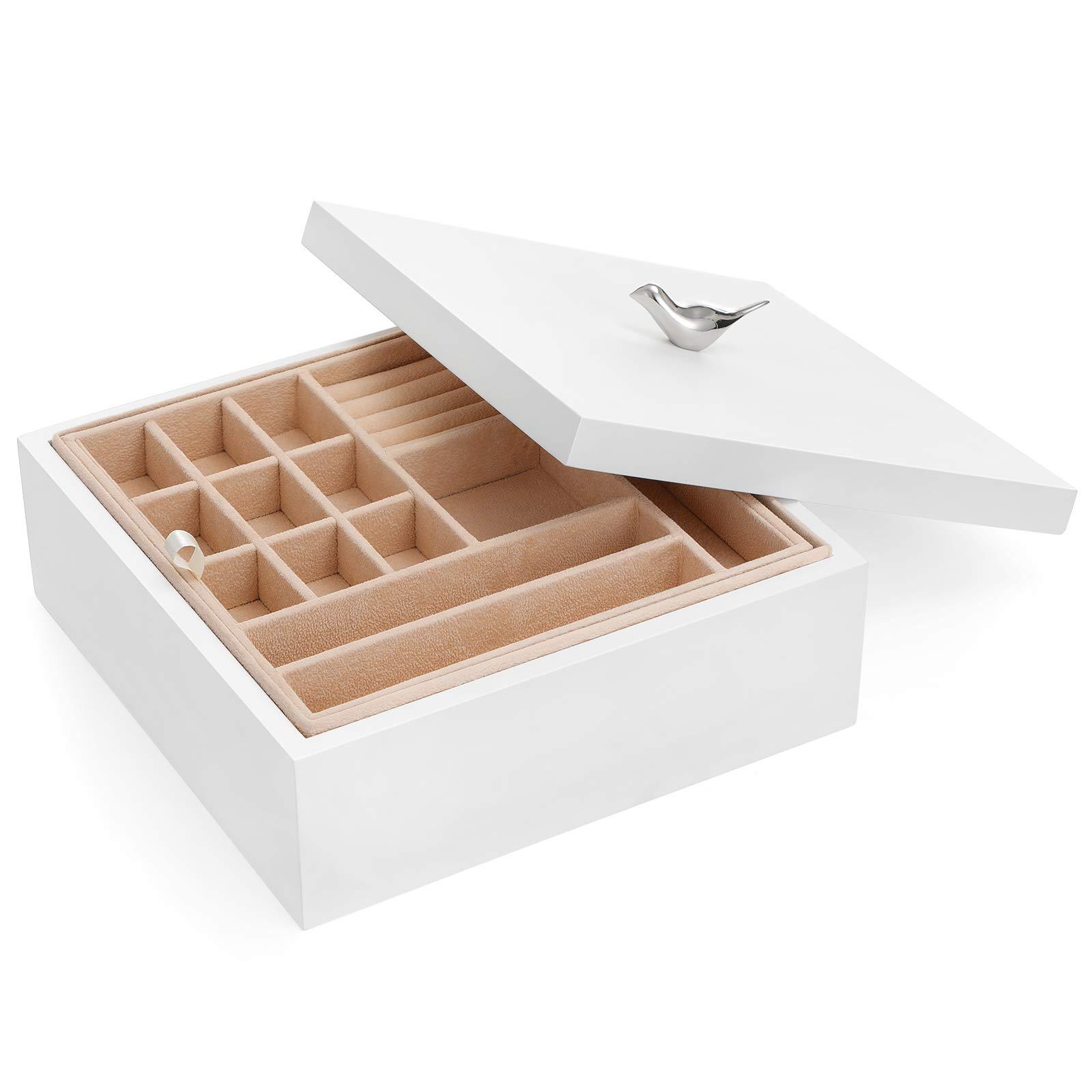 SONGMICS木製ジュエリーボックス、2層ジュエリー取り外し可能なトレイ付き収納ボックス、恋人へのプレゼント、ホワイトUJOW11WT