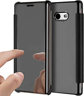 Galaxy J7 V Case,Galaxy J7 Perx Case,Galaxy J7 Sky Pro Case,ikasus Ultra-Slim Shock-Absorption Clear View Flip Electroplate Plating Mirror Cover Flip Protective Case Cover for Galaxy J7 2017,Black