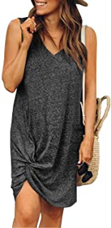 ROSKIKI Womens Casual Short Sleeve Round Neck T Shirt Dresses Twist Front Knot Tunic Dress for Women