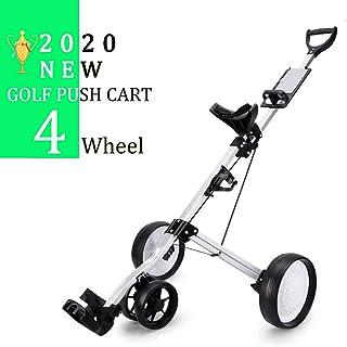 Foldable 4 Wheels Golf Push Cart Adjustable Handle Angle Lightweight Golf Carts Scorecard, Drink Holder, Foot Brake- Easy to Open/Close