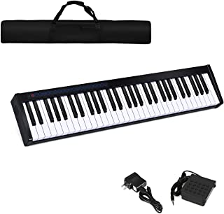 Costzon 61-Key Portable Touch Sensitive Keys Digital Piano, Upgraded Premium Electric Keyboard W/ 128 Rhythm, 128 Tone, Sustain Pedal, MIDI/USB Interface, Power Supply, Bluetooth Function (Black)