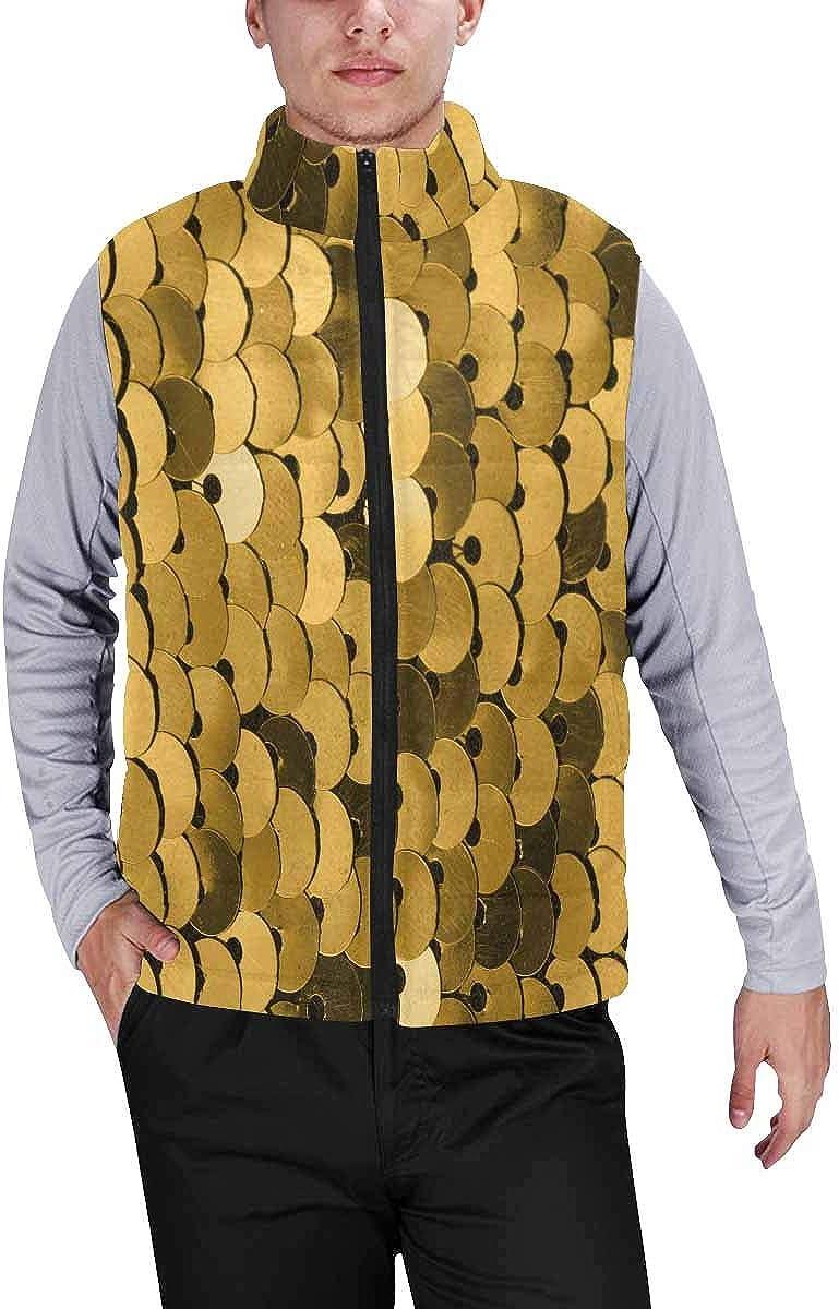 InterestPrint Men's Full-Zip Padded Vest Jacket for Outdoor Activities Watercolor Dots, Black and Colorful Hearts