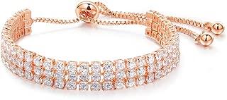 ARCHERZOM Fashion Adjustable Chain Bracelet for Women Cubic Zirconia Rose Gold Gift Bracelet of Luxury Shining Jewelry